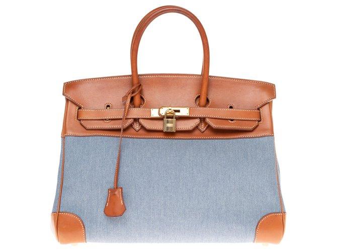 Hermès HERMES BIRKIN 35 bi-material in blue canvas and tawny barenia leather! Handbags Leather,Cloth Brown,Blue ref.160855