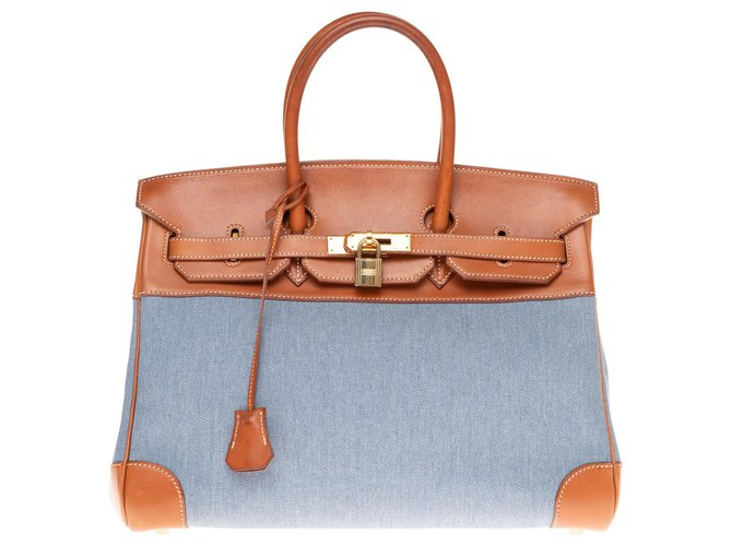 Sacs à main Hermès Hermès Birkin 35 bi-matière en toile bleue et cuir barénia fauve! Cuir,Toile Marron,Bleu ref.160855