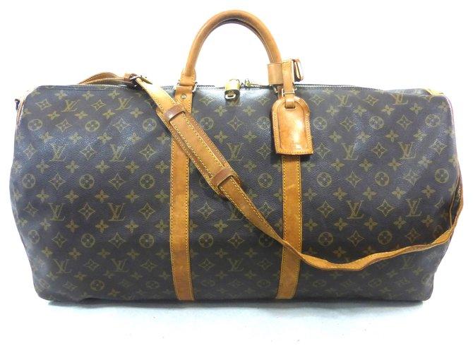 Sacs de voyage Louis Vuitton KEEPALL 60 BANDOULIERE MONOGRAM Cuir Marron ref.160889