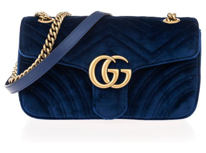 Gucci GUCCI 'GG MARMONT' QUILTED SHOULDER BAG brand new Handbags Velvet Blue ref.160947