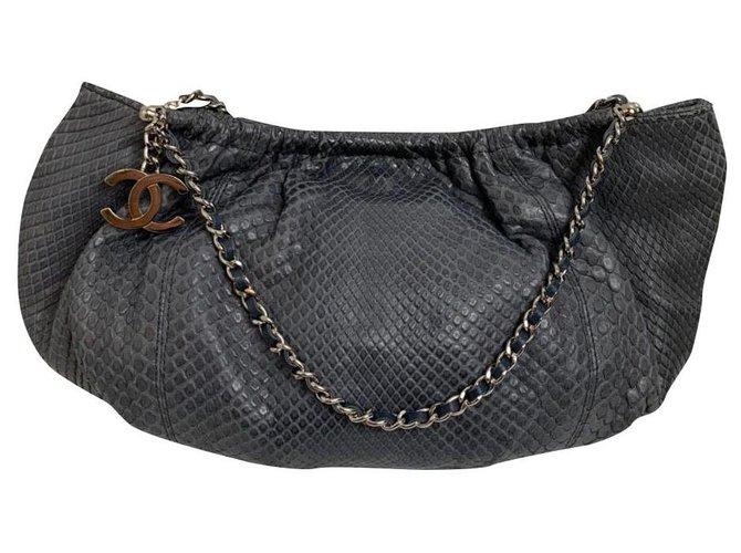 Sacs à main Chanel Chanel Python Bleu,Gris ref.161014