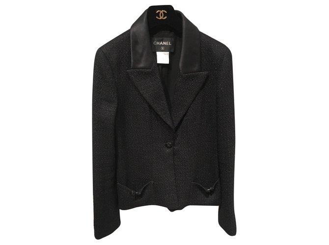 Chanel Jackets Jackets Cotton,Wool,Viscose,Polyamide Black ref.161098