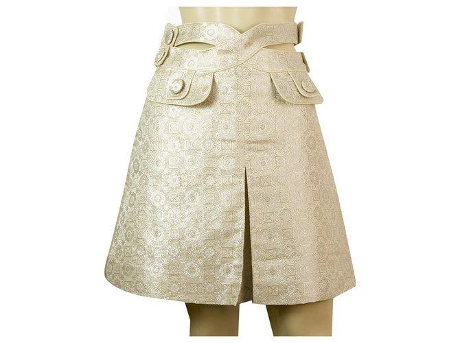 Chloé Chloe Porcelain White Shiny Silky Jacquard Cut Details A- Line Pleat Skirt Sz 36 Skirts Silk Eggshell ref.161214