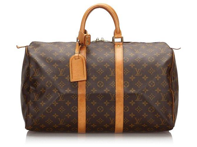 Sacs de voyage Louis Vuitton Louis Vuitton Keepall Monogram Brown 45 Cuir,Toile Marron ref.161361