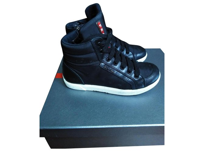 Prada high Sneakers Cloth Black ref.161514