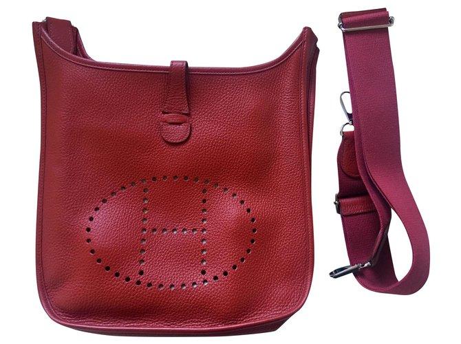 Hermès Handbags Handbags Leather Red ref.161565