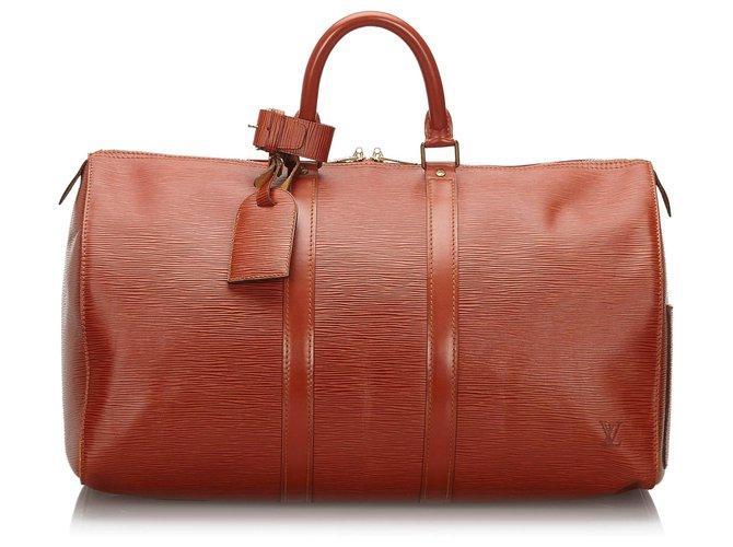 Sacs de voyage Louis Vuitton Louis Vuitton Brown Epi Keepall 45 Cuir Marron ref.161631