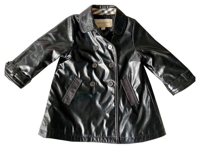 Blousons, manteaux filles Burberry Manteaux fille Polyester Noir ref.161687