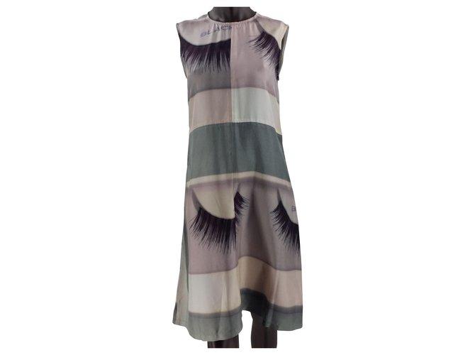 Céline Dresses Dresses Silk Pink,White,Grey ref.161779