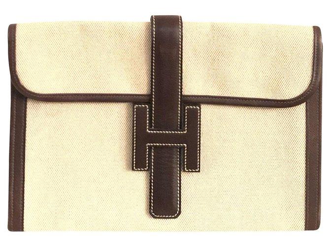 Hermès Hermès Jige Clutch in Beige Canvas and Brown Leather Clutch bags Cloth Beige ref.161794