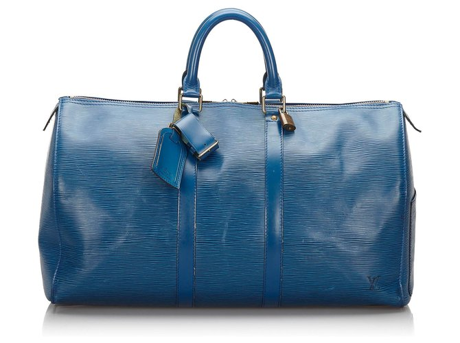 Sacs de voyage Louis Vuitton Louis Vuitton Blue Epi Keepall 45 Cuir Bleu ref.161838