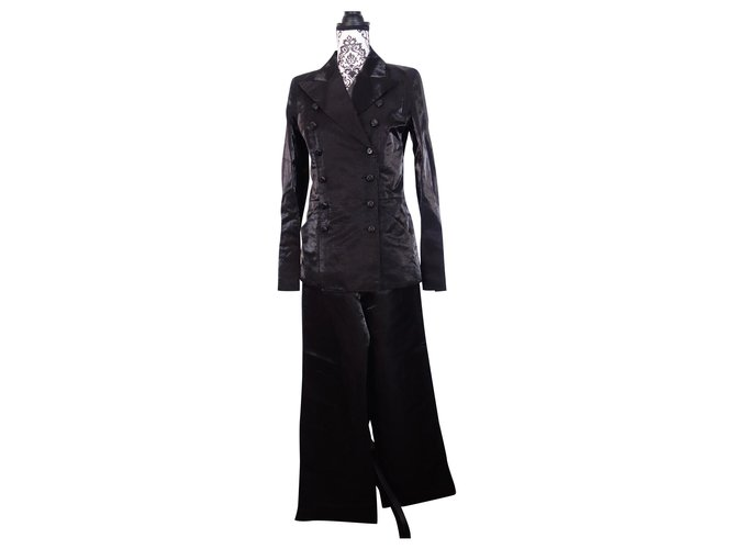 Chanel PANTS SET + CHANEL JACKET Jackets Silk,Linen Black ref.161928