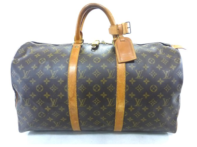 Sacs de voyage Louis Vuitton KEEPALL 50 MONOGRAM Cuir Marron ref.162105