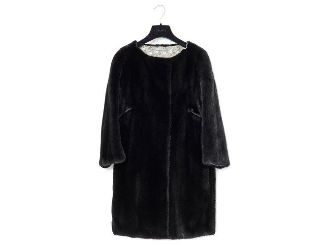 Yves Salomon BLACK MINK FR38 Coats, Outerwear Fur Black ref.162122