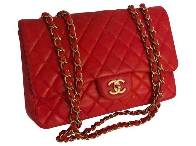 Sacs à main Chanel Sacs à main Cuir d'agneau Rouge ref.162202