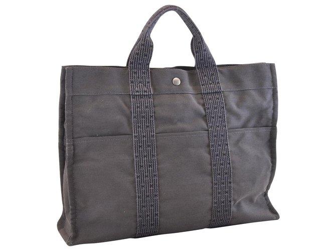 Hermès Hermès Herline Handbags Cotton Grey ref.162237