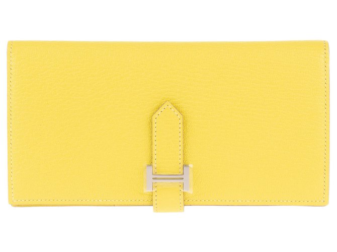 Hermès Hermès Béarn wallet in yellow Mysore goat leather, new condition! Purses, wallets, cases Leather Yellow ref.162321