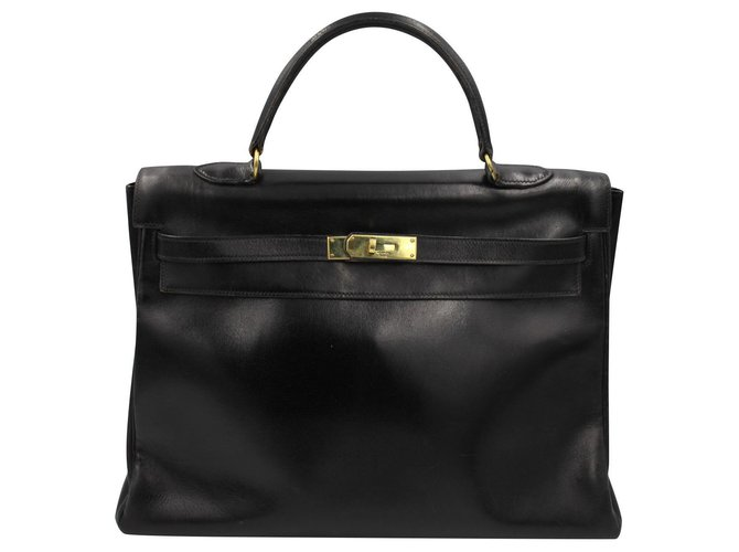 Hermès Kelly 35 Handbags Leather Black ref.162564