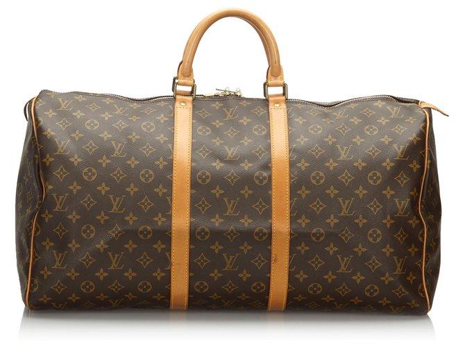 Sacs de voyage Louis Vuitton Louis Vuitton Keepall Monogram Brown 55 Cuir,Toile Marron ref.162901