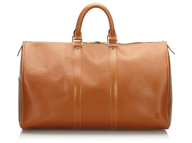 Sacs de voyage Louis Vuitton Louis Vuitton Brown Epi Keepall 45 Cuir Marron ref.162908