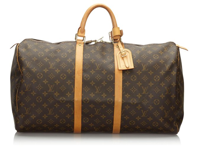 Sacs de voyage Louis Vuitton Louis Vuitton Keepall Monogram Brown 55 Cuir,Toile Marron ref.162909