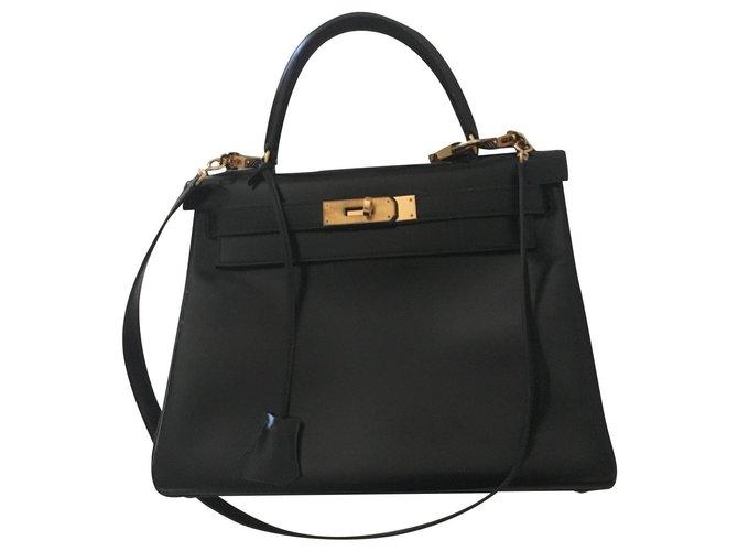 Hermès Kelly Black Leather  ref.163093