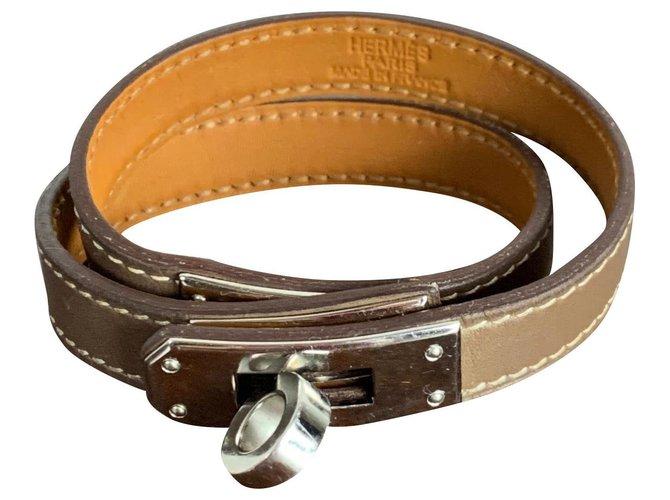 Bracelets Hermès Kelly Hermès Cuir Taupe ref.163099