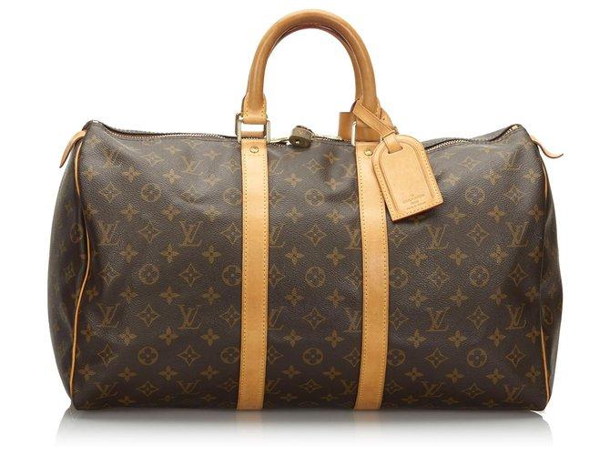 Sacs de voyage Louis Vuitton Louis Vuitton Keepall Monogram Brown 45 Cuir,Toile Marron ref.163133