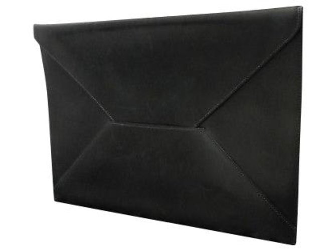 Hermès Hermès Enveloppe Chevrolet Clutch bags Leather Black ref.163136