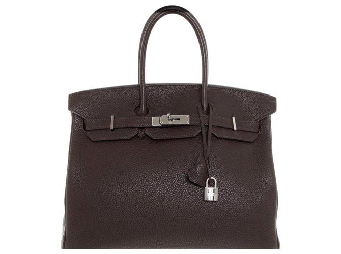 Hermès Birkin 35 Handbags Leather Brown ref.163177