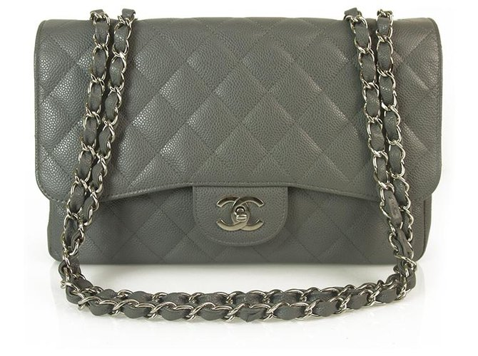 Chanel CHANEL Gray Caviar Leather TimelessJumbo Classic Single Flap Bag Silver hardware Handbags Leather Grey ref.163318