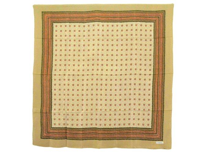 Chanel Chanel Silk Scarf Shawl Wrap Cape Dots Logo Vintage Silk scarves Silk Brown ref.163636