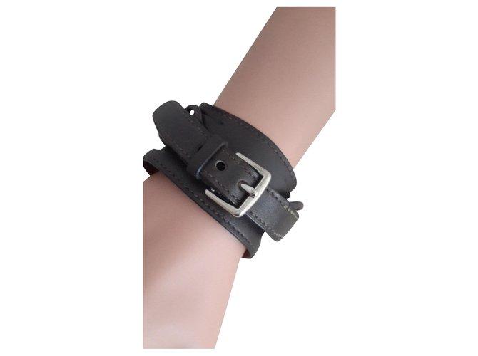 Bracelets Hermès Manchette Cuir Marron foncé ref.163646