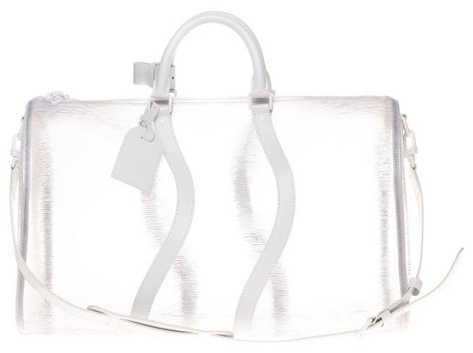 Louis Vuitton Ultra rare Louis Vuitton Keepall 50 shoulder strap Epi white beach , new condition! Travel bag Cloth Other ref.163657