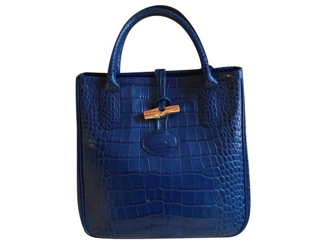 Gypsy blue bag in crocodile calf leather