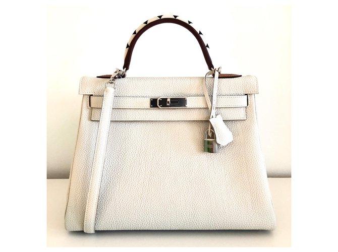 Hermès hermes kelly 32 Galloping Handbags Leather Beige ref.163858