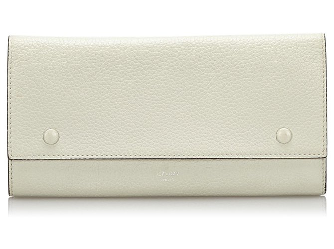 Céline Celine White Leather long Wallet Purses, wallets, cases Leather,Other White,Red,Cream ref.163961