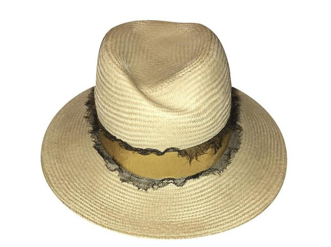 Maison Michel Hats Hats Straw Beige ref.164022