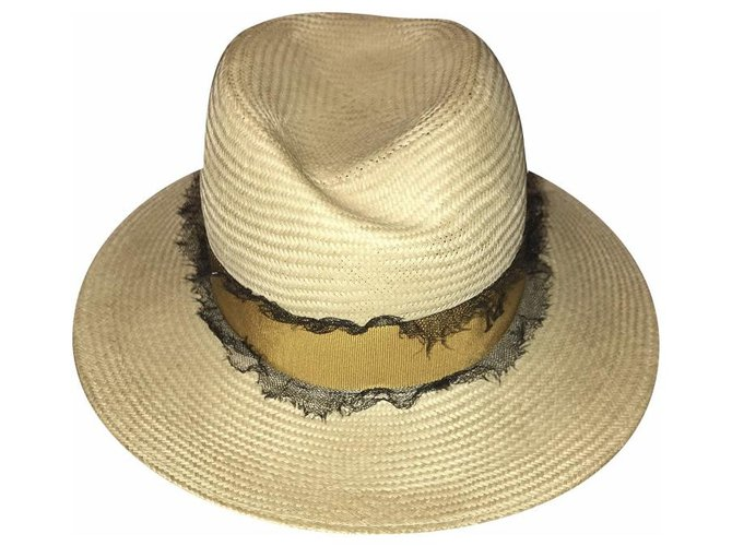 Maison Michel Hats Hats Straw Beige ref.164023