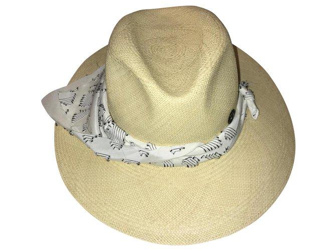 Maison Michel Henrietta Hats Straw Beige ref.164030