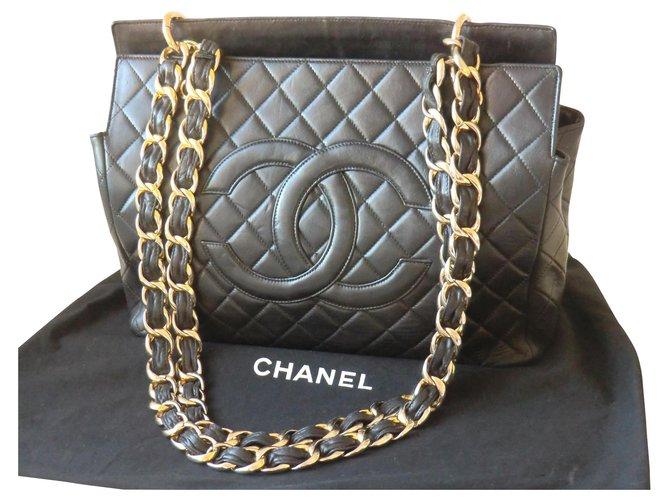 Sacs à main Chanel Sac Cabas Chanel Vintage Cuir Noir ref.164142