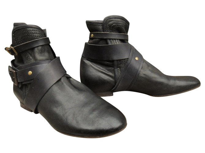 Chloé Chloé p soft boots 38,5 Ankle Boots Leather,Lambskin Black ref.164525