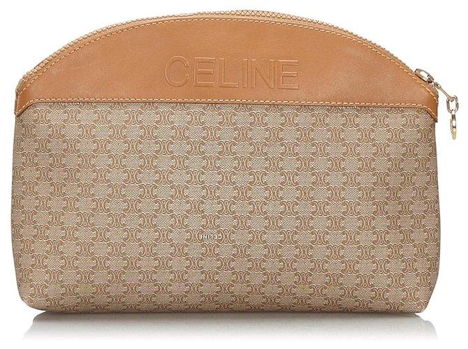 Céline Celine Brown Macadam Pouch Purses, wallets, cases Leather,Other,Plastic Brown ref.164602