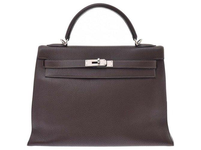 Hermès hermes kelly 32 Outside sewing Handbags Leather Brown ref.164921
