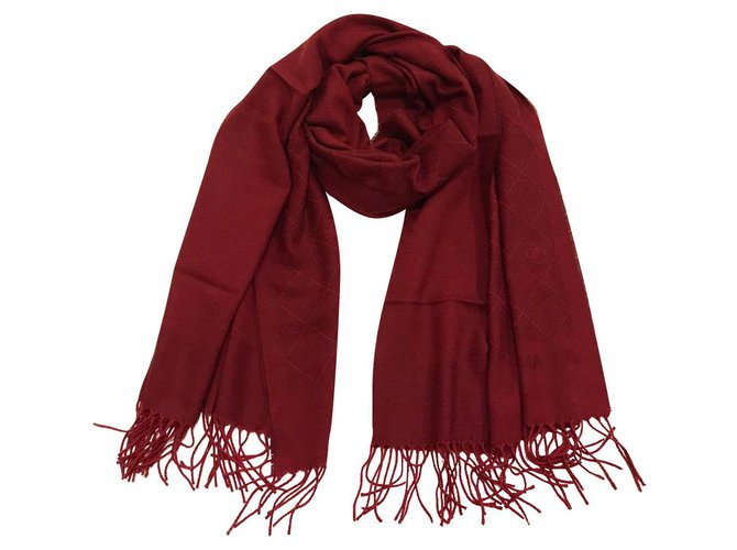 Chanel Chanel stole Scarves Cashmere Red ref.164956