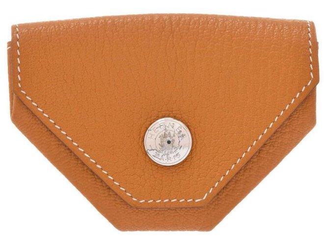 Hermès Hermès Revan Cattle natural goods Purses, wallets, cases Leather Orange ref.165013