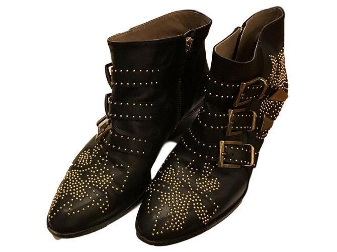 Chloé Suzanne Ankle Boots Leather Black ref.165057