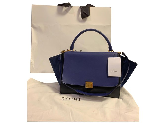Céline Handbags Handbags Leather Dark blue ref.165149