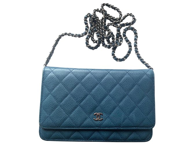 Chanel CHANEL wallet on chain in caviar blue leather Handbags Leather Blue ref.165158
