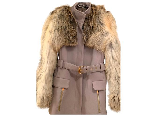 Vestes Gucci Manteau RACCON-CASHMERE GUCCI Cachemire Gris ref.165163